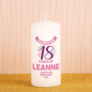 Personalised 18th Birthday Candle from Pukkagifts.uk