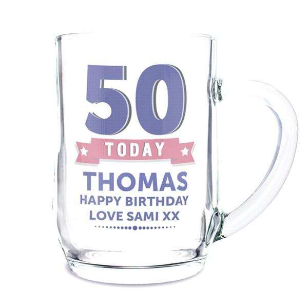 Personalised Birthday Star Glass Tankard from Pukkagifts.uk