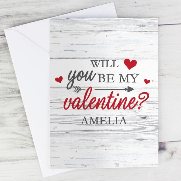 Personalised Will You Be My Valentine Card - www.pukkagifts.uk