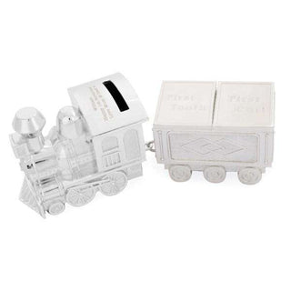 Personalised Train Money Box with Tooth & Curl Trinket Box from Pukkagifts.uk