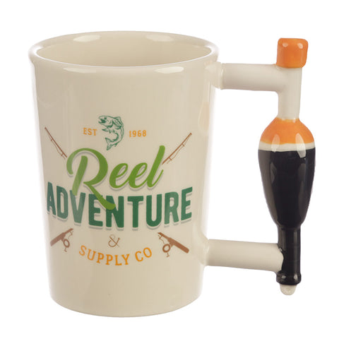 Reel Adventure Fishing Shaped Handle Mug with Oval Float