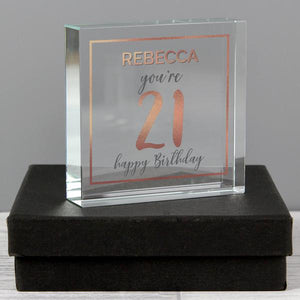 Personalised 21st Birthday Rose Gold Crystal Token from Pukkagifts.uk