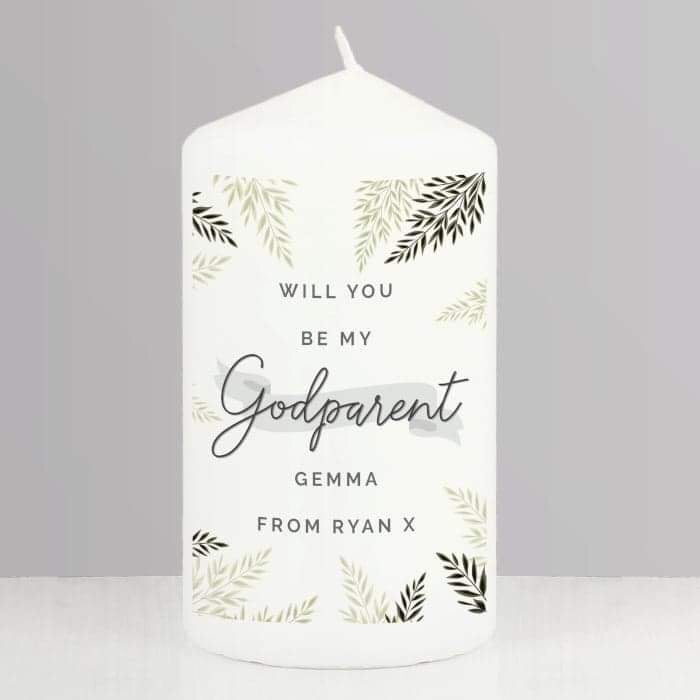 Personalised Godparent Pillar Candle from Pukkagifts.uk