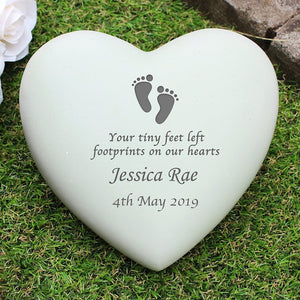 Personalised Footprints Heart Memorial from Pukkagifts.uk