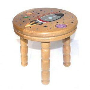Personalised Rocket Wooden Stool from Pukkagifts.uk