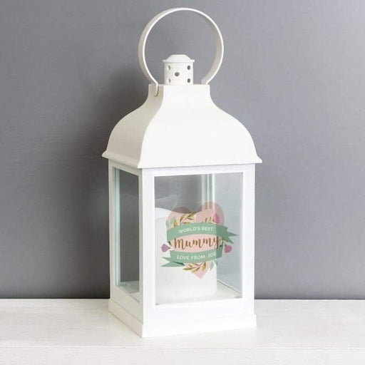 Personalised Floral Heart White Lantern from Pukkagifts.uk