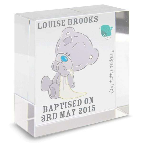 Personalised Tiny Tatty Teddy Medium Christening Crystal Token from Pukkagifts.uk
