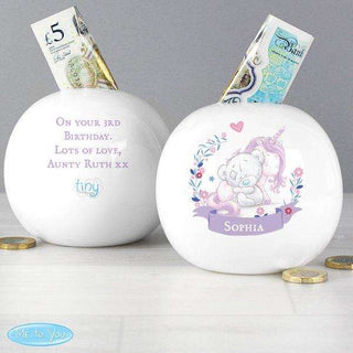 Personalised Personalied Tiny Tatty Teddy Unicorn Money Box from Pukkagifts.uk