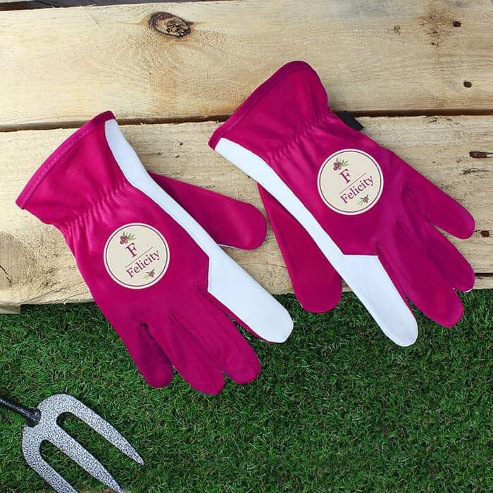 Personalised Floral Bouquet Medium Fuschia Gardening Gloves - www.pukkagifts.uk