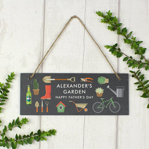 Personalised Garden Printed Hanging Slate Plaque from Pukkagifts.uk