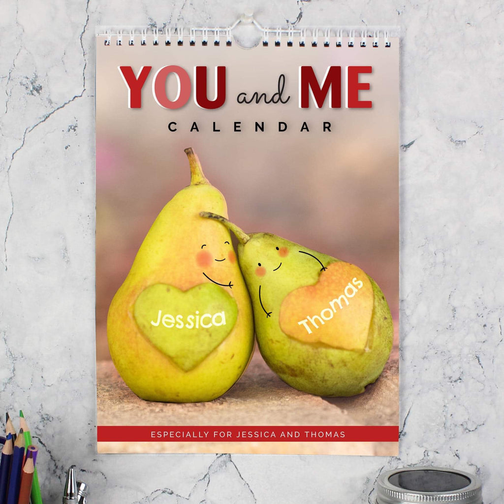 Personalised A4 Couple Calendar from Pukkagifts.uk