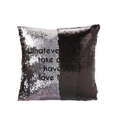 Secret Message Silver & Black Sequin Cushion Cover from Pukkagifts.uk