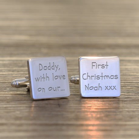 Personalised Daddy With Love On Our First Christmas Cufflinks from Pukkagifts.uk
