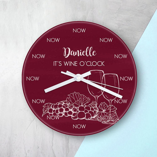 Personalised Wine O'Clock Glass Clock