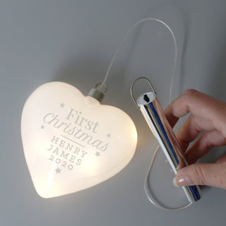 Personalised First Christmas LED Hanging Glass Heart Decoration