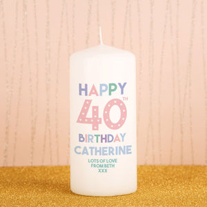 Personalised 40th Birthday Candle from Pukkagifts.uk