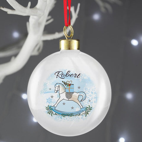 Personalised Blue Rocking Horse Christmas Bauble
