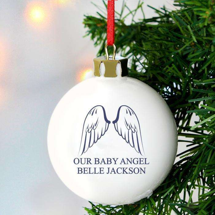 Personalised Angel Wings Bauble Memorial Remembrance Decoration from Pukkagifts.uk