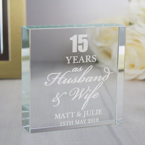 Personalised Anniversary Large Crystal Token From Pukkagifts.uk