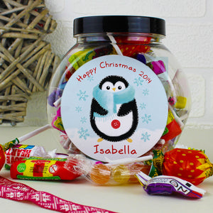 Personalised Felt Stitch Penguin Christmas Sweet Jar