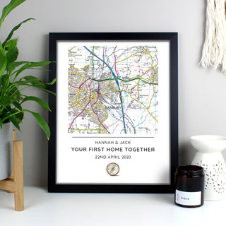 Personalised Map Print Framed