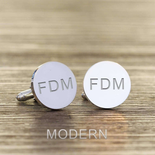 Engraved Initials Round Cufflinks from Pukkagifts.uk
