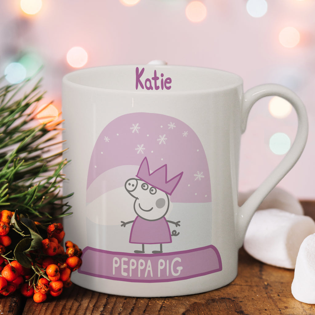 Personalised Peppa Pig Snow Globe Mug