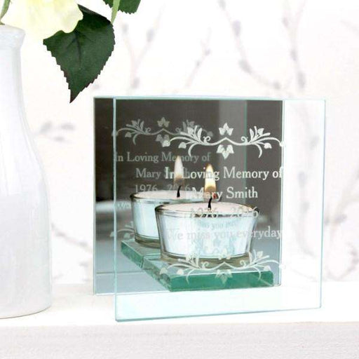 Personalised Sentiments Mirrored Glass Tea Light Holder from Pukkagifts.uk