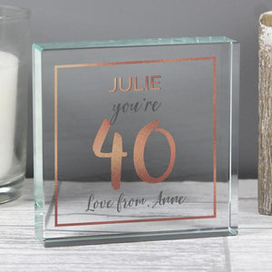 Personalised 40th Birthday Rose Gold Crystal Token from Pukkagifts.uk