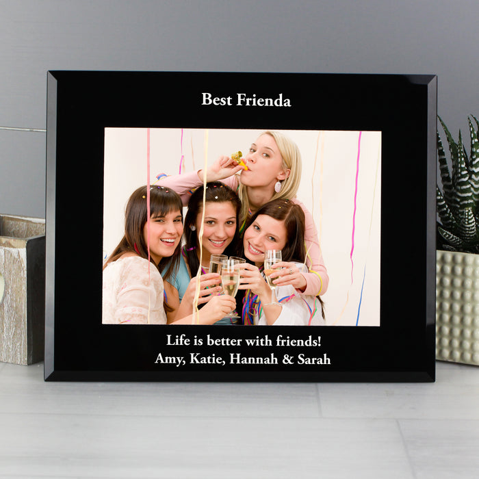 Personalised Any Message Landscape Black Glass Photo Frame 7x5