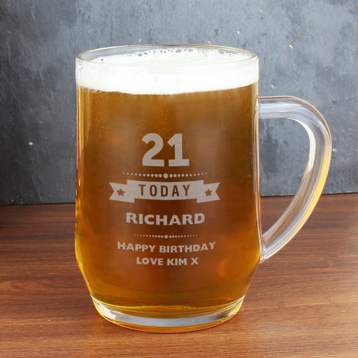 Personalised 21st Birthday Tankard Glass