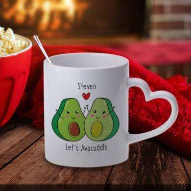 Personalised Let's AvoCuddle Mug With Heart Handle from Pukkagifts.uk