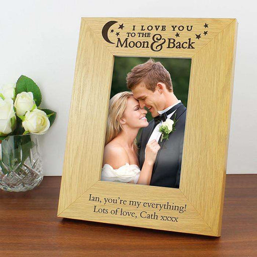 Personalised I Love You To the Moon and Back Photo Frame Oak Finish 4x6 from Pukkagifts.uk