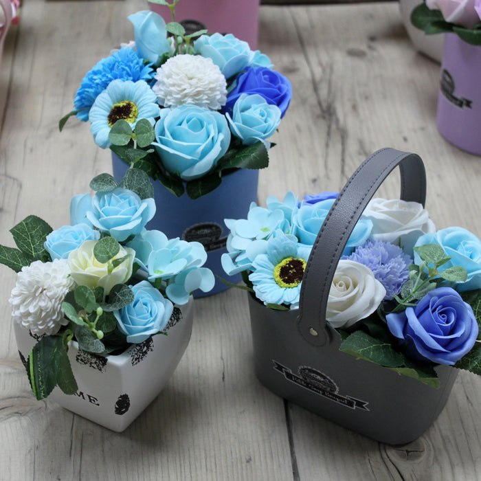 Soap Flower Bouquet Petite Gift Pot- Soothing Blues