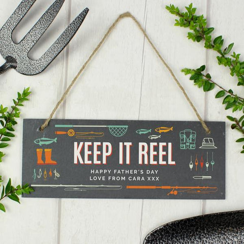 Personalised Keep It Reel Fishing Printed Hanging Slate Plaque