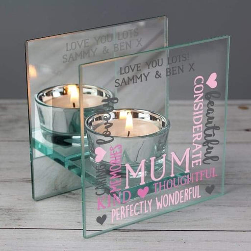 Personalised Mum Mirrored Glass Tea Light Holder from Pukkagifts.uk