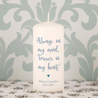 Personalised Always On My Mind Forever In My Heart Memorial Candle from Pukkagifts.uk