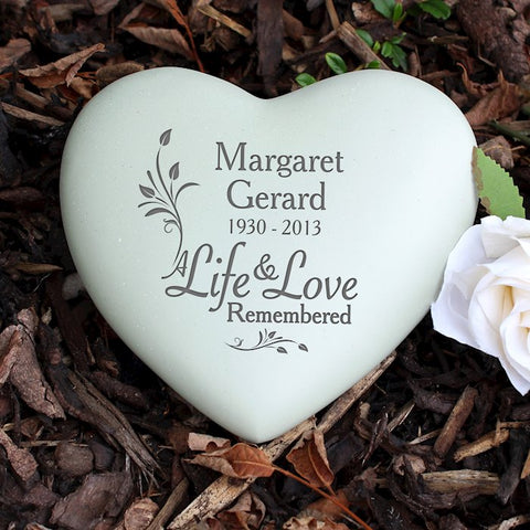 Personalised Life & Love Remembered Heart Memorial from Pukkagifts.uk