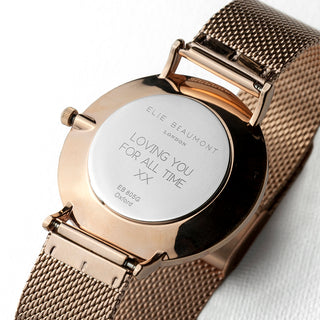 Elie Beaumont Personalised Ladies Rose Gold Mesh Strapped Watch With Black Dial