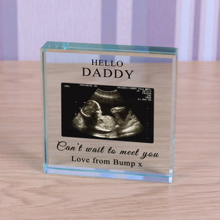 Personalised Baby Bump Photo Glass Token - Cant Wait To Meet You