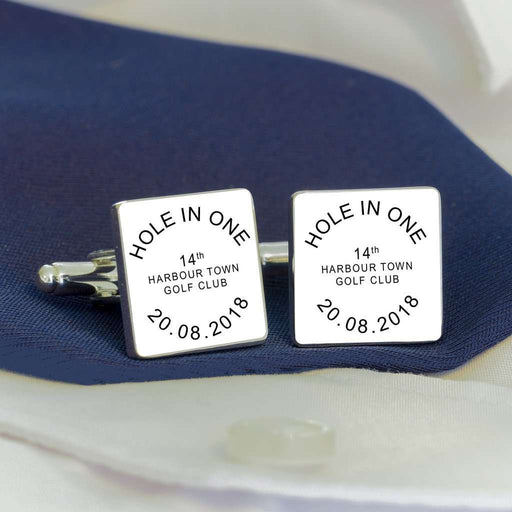 Personalised HOLE IN ONE Golf Cufflinks from Pukkagifts.uk
