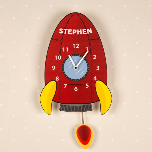 Personalised Pendulum Wall Clock - Rocket Ship