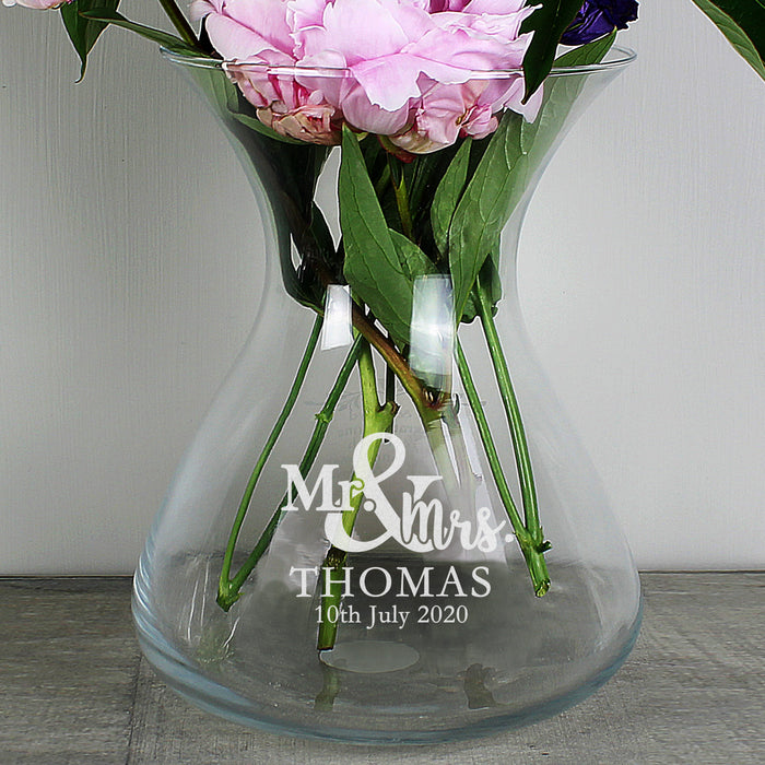 Personalised Mr & Mrs Wedding Glass Vase 22cm