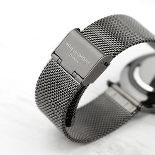 Personalised Mr Beaumont Men's Metallic Charcoal Grey Watch