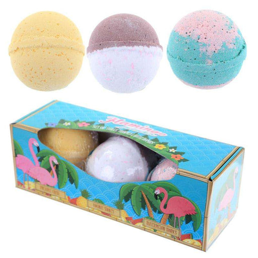 Set of 3 Flamingo Bath Bombs - Tropical Scents from Pukkagifts.uk