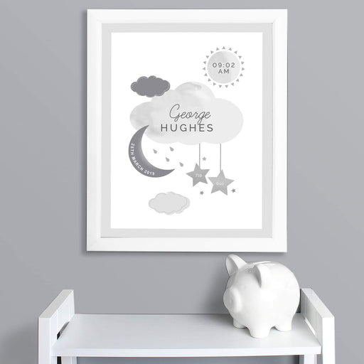 Personalised New Baby Moon & Stars White Framed Nursery Print from Pukkagifts.uk