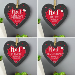 Personalised No.1 Belongs To Printed Slate Heart Decoration