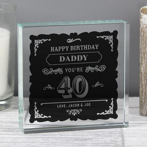 Personalised Birthday Age Vintage Typography Large Crystal Token from Pukkagifts.uk