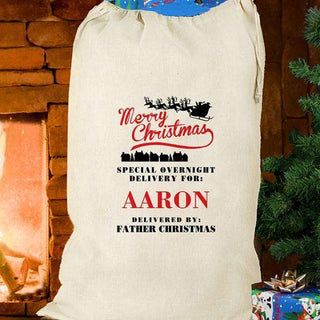 Personalised Special Overnight Delivery Christmas Sack from Pukkagifts.uk
