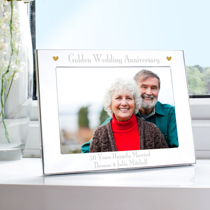 Personalised Golden 50th Wedding Anniversary Photo Frame 7x5 Landscape